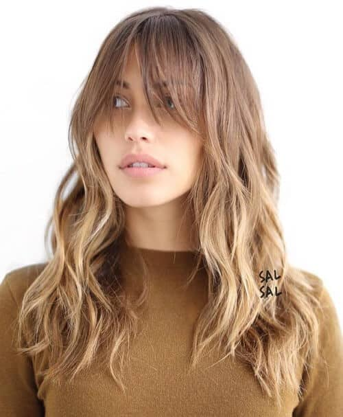 Fringy Bangs and Long Wavy Layers