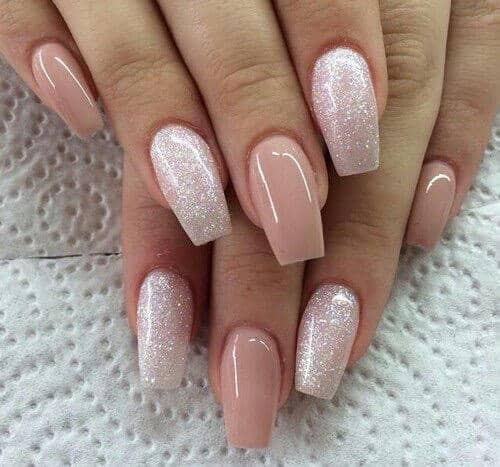 22 Pink And Glitter Long False Nails