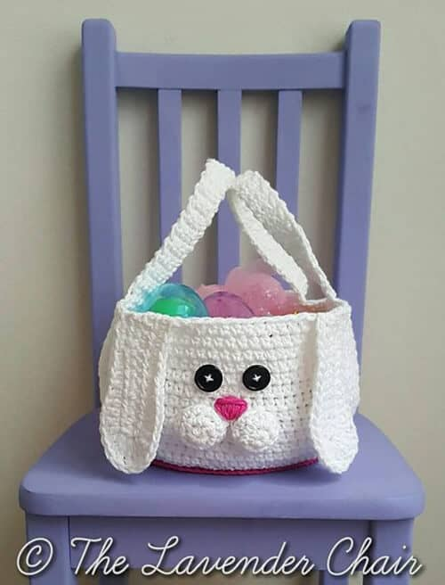 Crocheted Easter Bunny Face Basket
