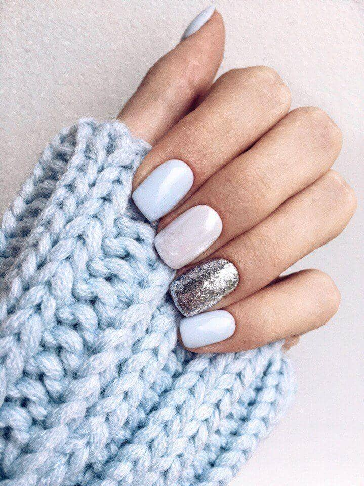 22) Pastel Winter Sky Sparkle Nail Design - 50 Dazzling Ways To Create Gel Nail Design Ideas To Delight In 2018