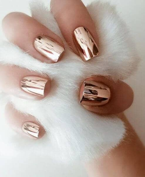 Beautiful Bronze Short Nail Design