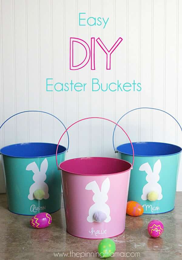 Custom Painted Pails with Bunny Tails