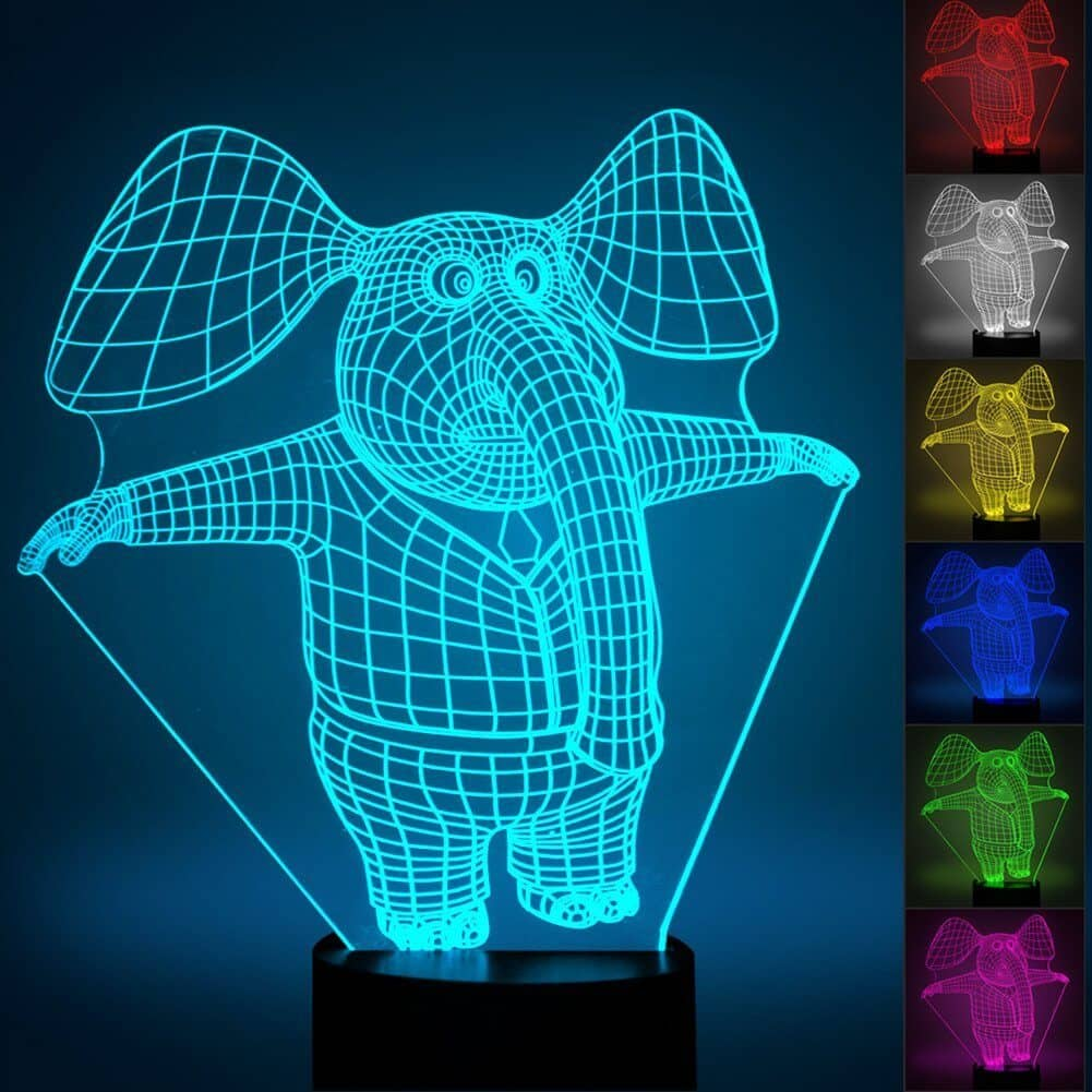 3D Elephant Optical Illusion Night Light