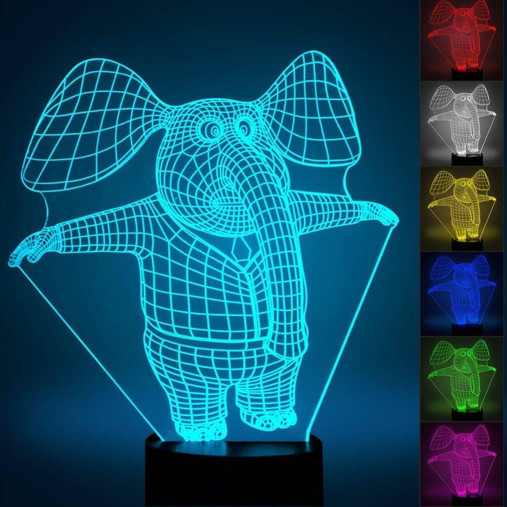 3D Elephant Optical Illusion Night Light