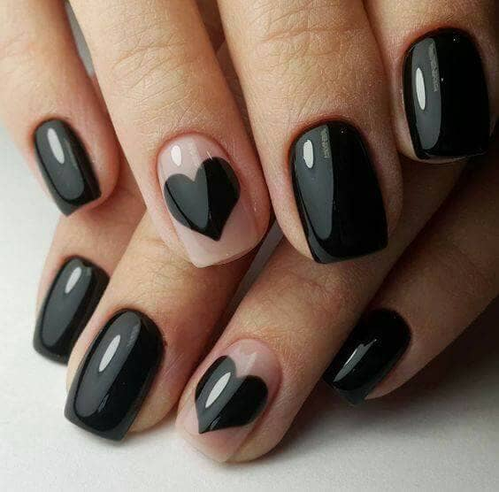 Black Hearts Designer Nail Design