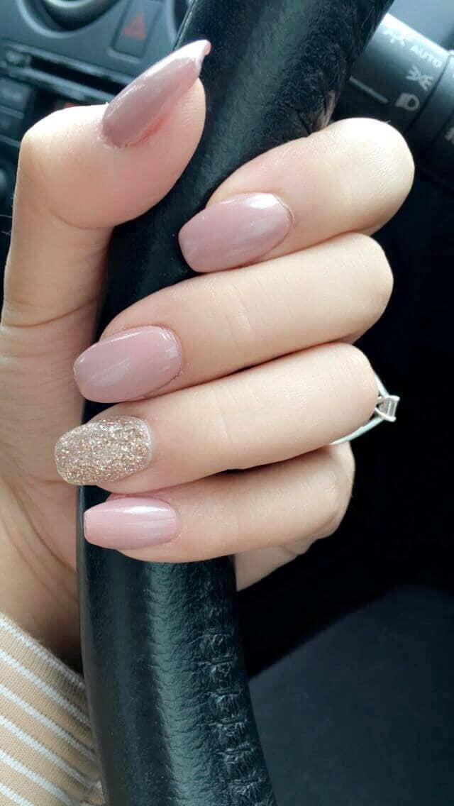 Ballerina Nails, Pearly Pink, and Gold Glitter
