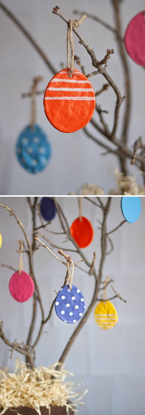 Handmade Plastic Egg Decorations Hung on a Tree