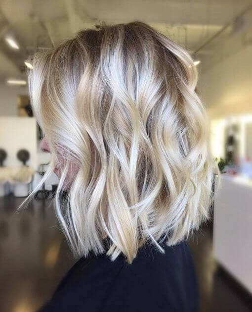 Polished Platinum Lob with Subtle Curls