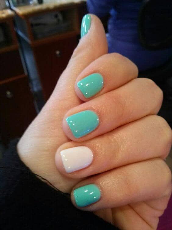 Turquoise and White Colorful Nail Designs