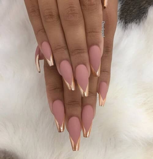 32) Pink with Gold French Tip Acrylic Nails - 50 Stunning Acrylic Nail Ideas To Express Your Personality