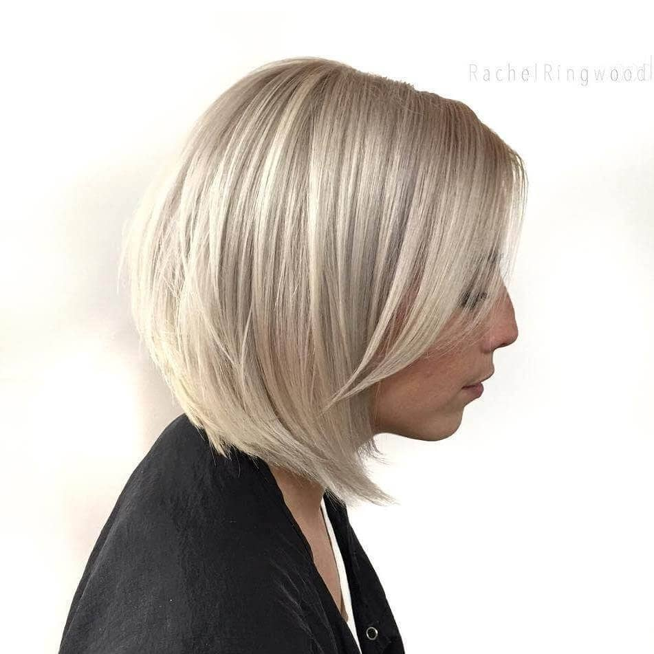 Cool Blonde Bob with Long Bangs
