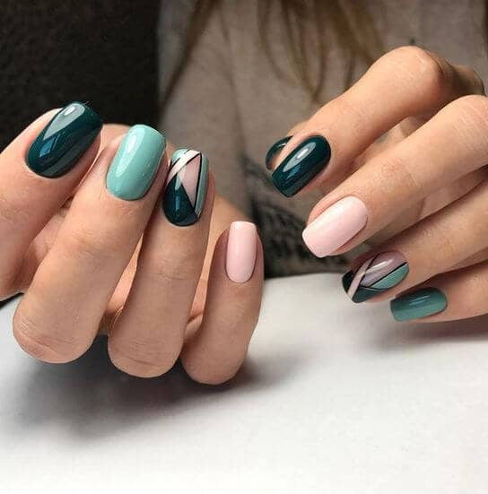 34) Jewel Tones and Geometric Shapes - 50 Dazzling Ways To Create Gel Nail Design Ideas To Delight In 2018
