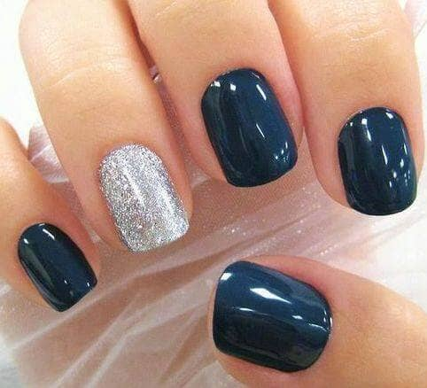 Bold Navy Blue and Silver nail colors