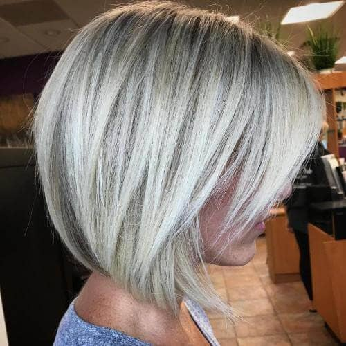 White Blonde Angled Bob and Bangs