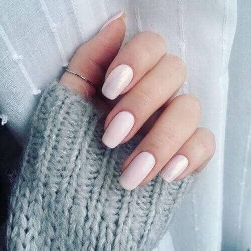 Simple Creamy Medium Length Nail Design