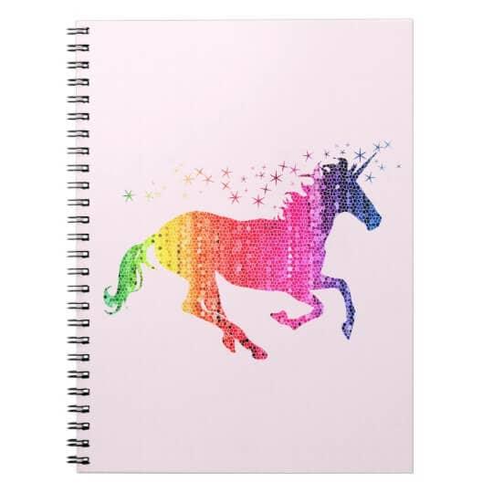 Rainbow Pink Unicorn Notebook