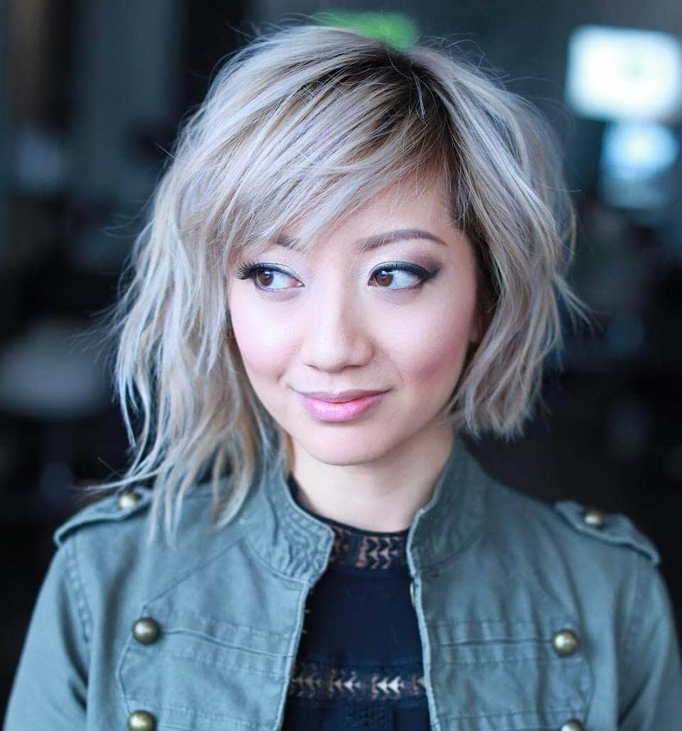 A-symmetrical Choppy Cool Blonde Bob