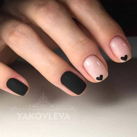 Easy Black with Black Hearts Nail Art