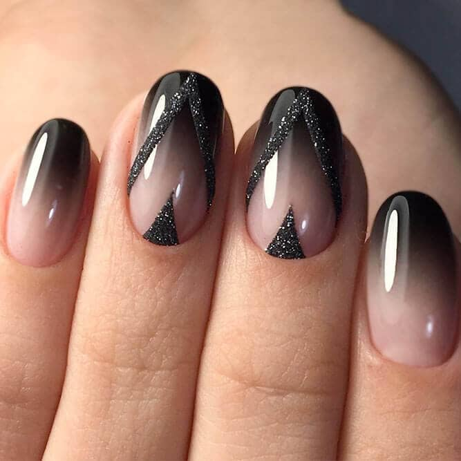 Sophisticated Glitter Black Satin Nail Art