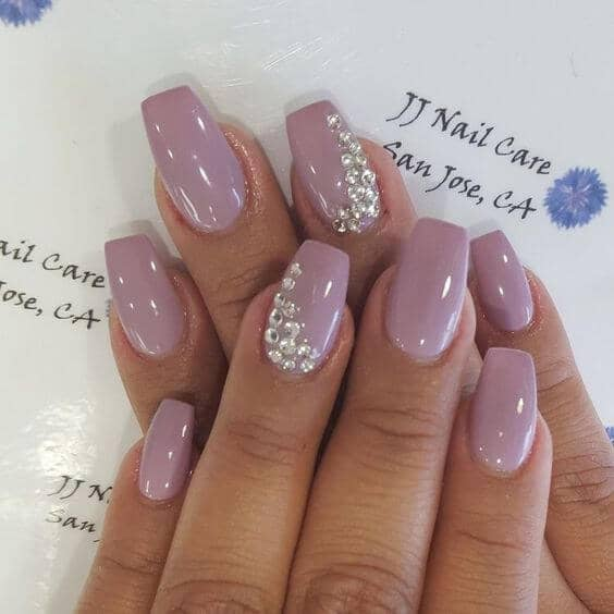 Neutral Heather Ballerina Nails with Diamonds