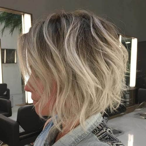 Light Blonde Balayage on Layered Short Shag