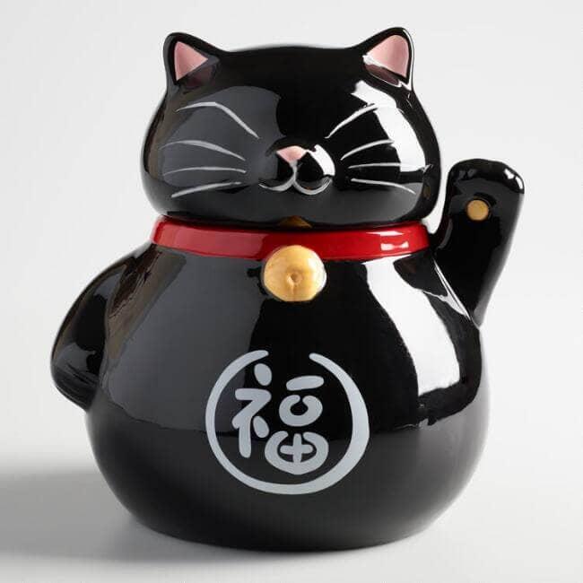 Black Lucky Cat Cookie Jar