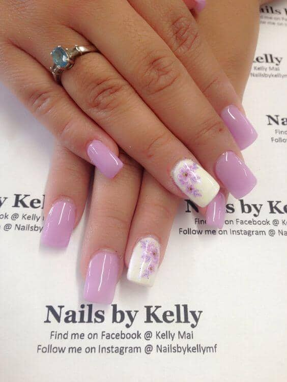 49) Lovely Lilacs Grace Lavender Nails - 50 Dazzling Ways To Create Gel Nail Design Ideas To Delight In 2018