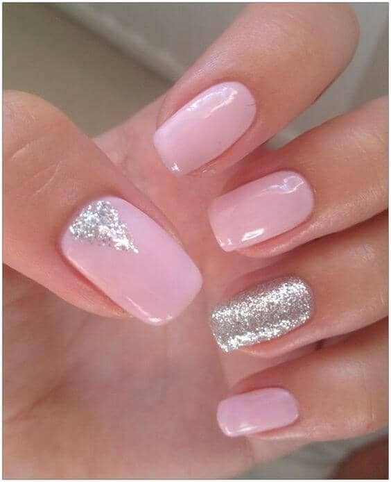 50) Pink and Silver Sparkle is Sure to Please - 50 Dazzling Ways To Create Gel Nail Design Ideas To Delight In 2018