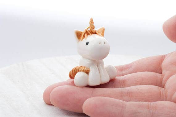 White and Gold Unicorn Jewelry Pendant