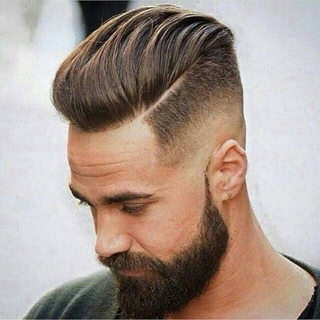 Slicked Back Undercut for Men with a Beard