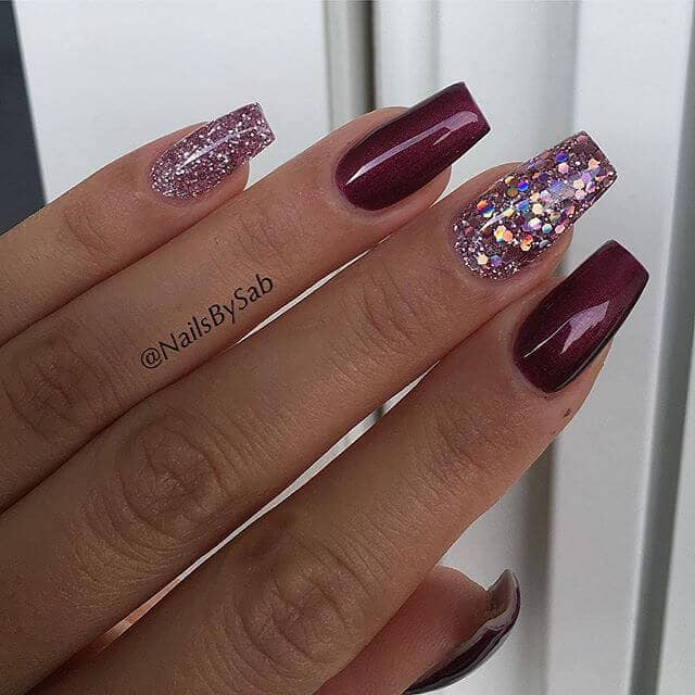 1) Alternating Maroon and Pink Glittery Nails