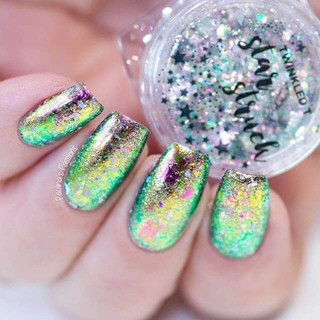 Vibrant Green Iridescent Sparkly Nails