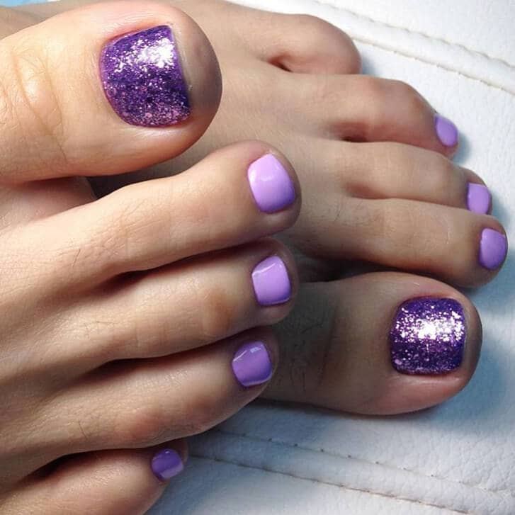 Lavender Glitter and Solid Nails