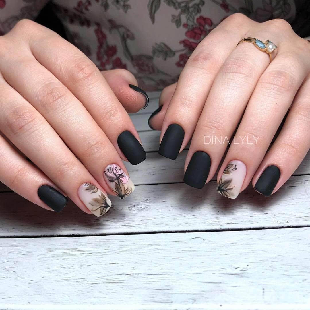 3) Midnight Garden – alternating flower and matte black design - 50 Dramatic Black Acrylic Nail Designs To Keep Your Style On Point