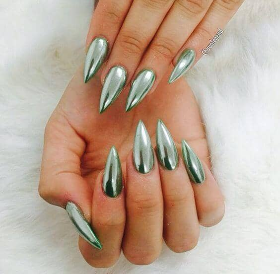 3 Extra Pointed Green Chrome Nails