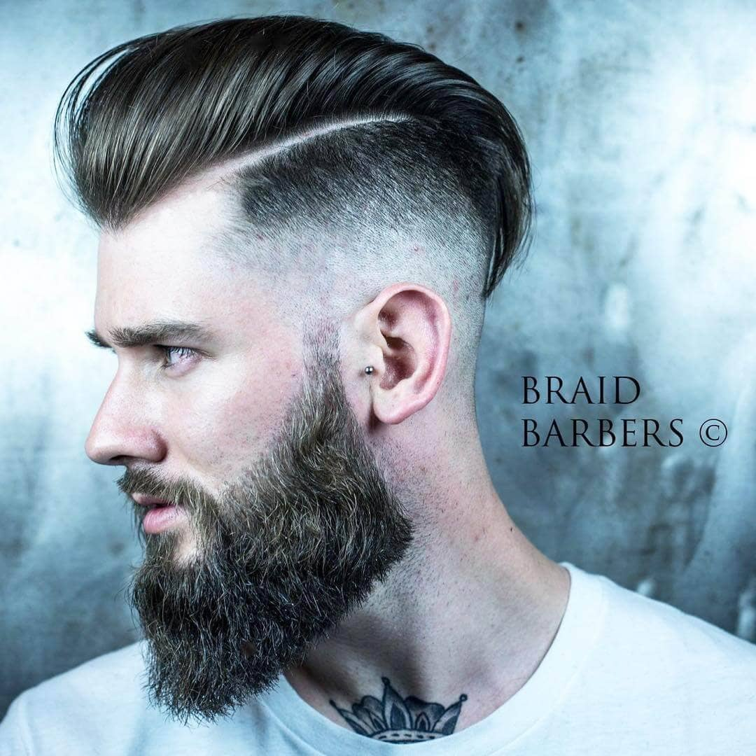 3) Side Swept Undercut Style With A Shaped Beard