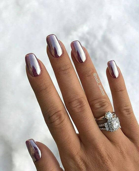 Sophisticated Pink-Silver Chrome Nail Ideas