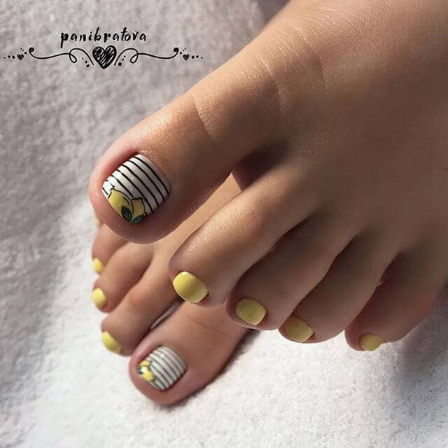 Cute Easy Nail Designs with Lemon Stripes