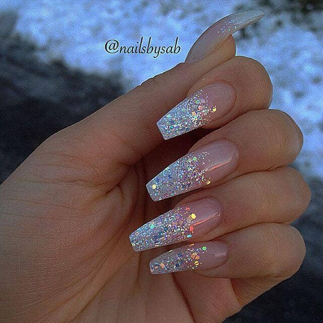 Nude With Sparkly Glitter Tip Nails