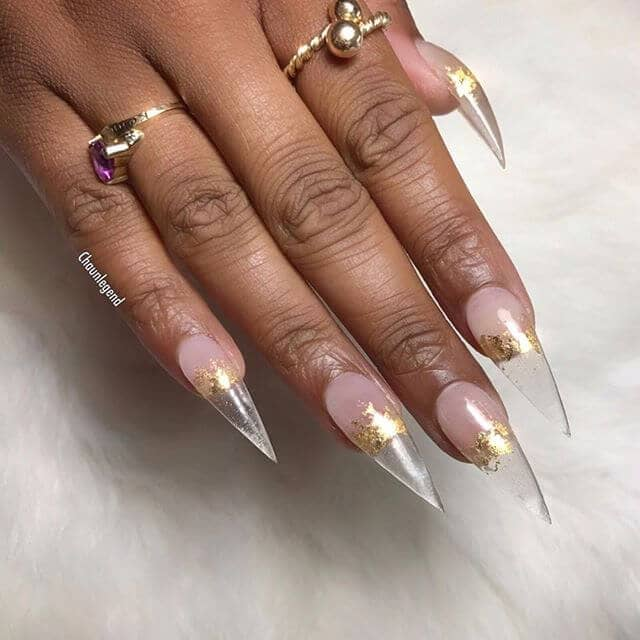 Dangerously Sexy Gold Leaf Designer Nails