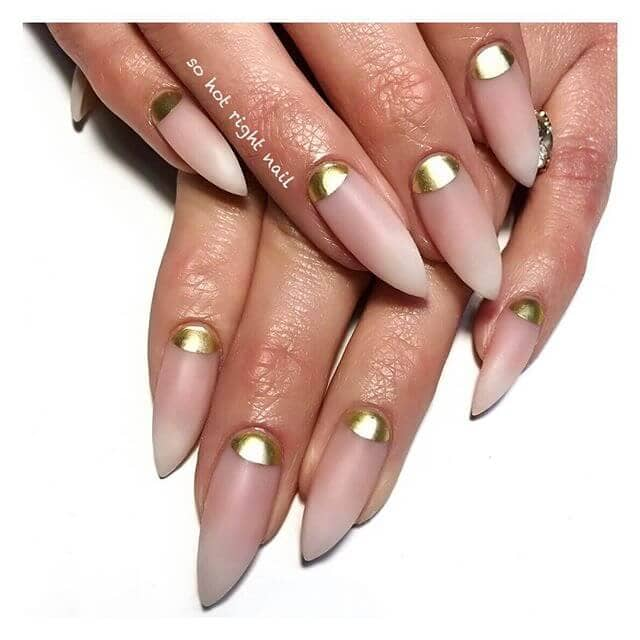 Pointed Pink and Gold Nails for You