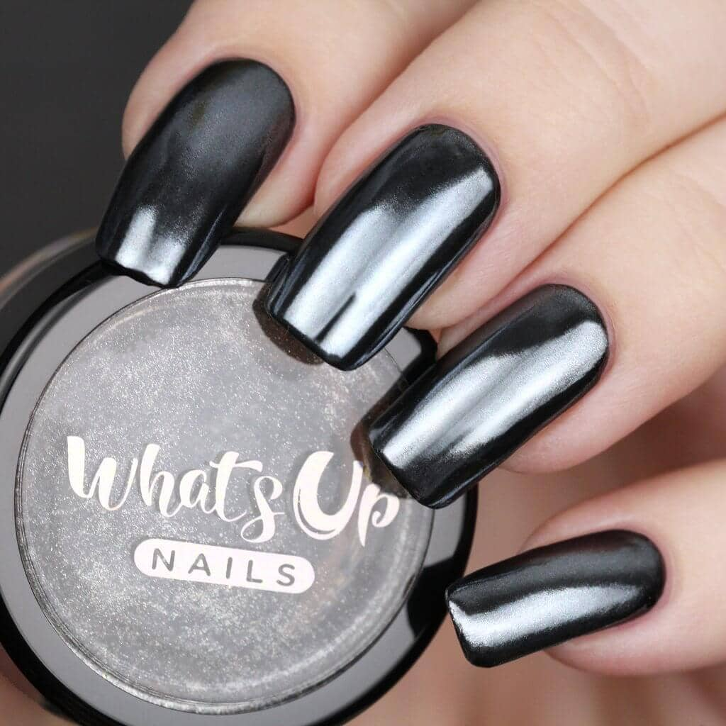 Square-Tipped Long Black Chrome Nails