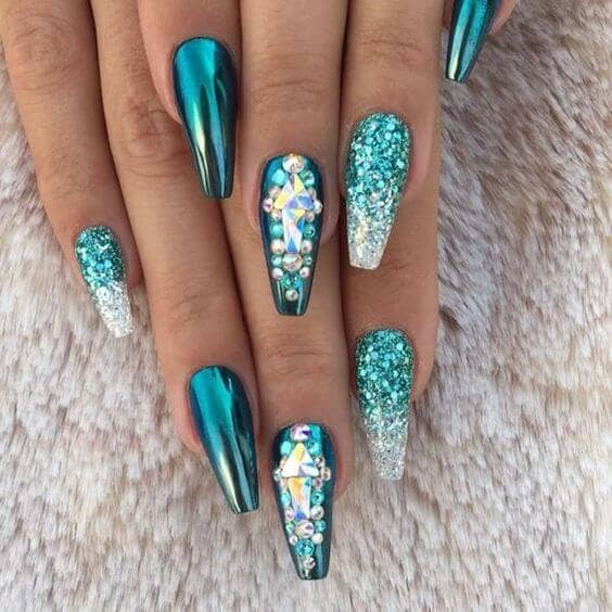 9) Fit for a Mermaid Aqua Nail Art Design - 50 Fabulous Ways To Wear Glitter Nails Like A Boss