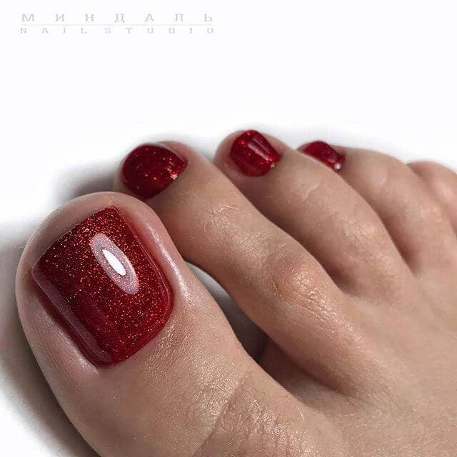 Deep Blood Red Nails with Glitter