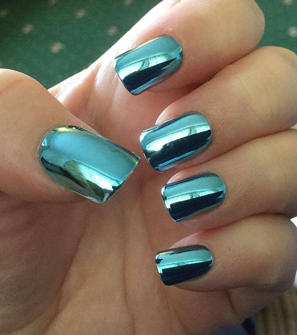 10) Simple Square-Tipped Aqua Nails - 50 Eye-Catching Chrome Nails To Revolutionize Your Nail Game