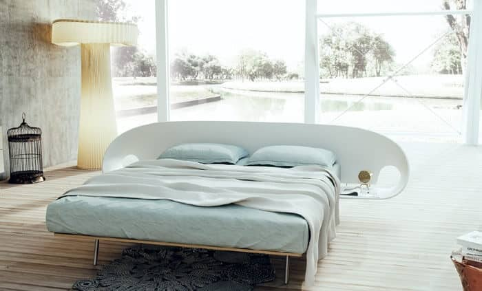 Cute Platform Bed With Built-in Nightstand