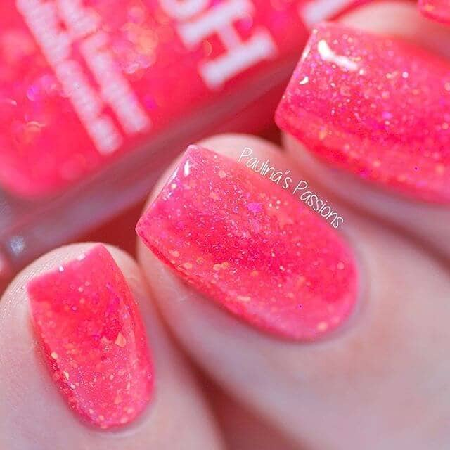 Shimmery Acid Effect Pink Glitter Nails