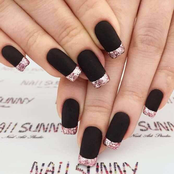 11) French Manicure with a Serious Twist - 50 Dramatic Black Acrylic Nail Designs To Keep Your Style On Point
