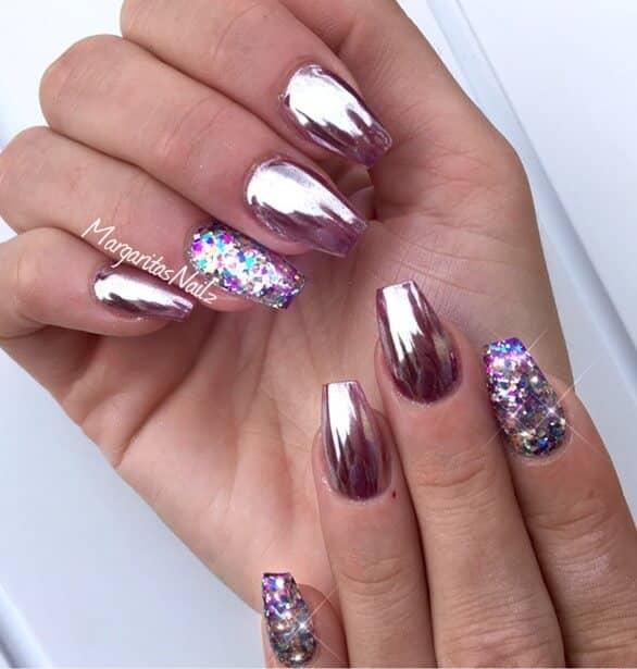 Adding Glitter to Pink Nails