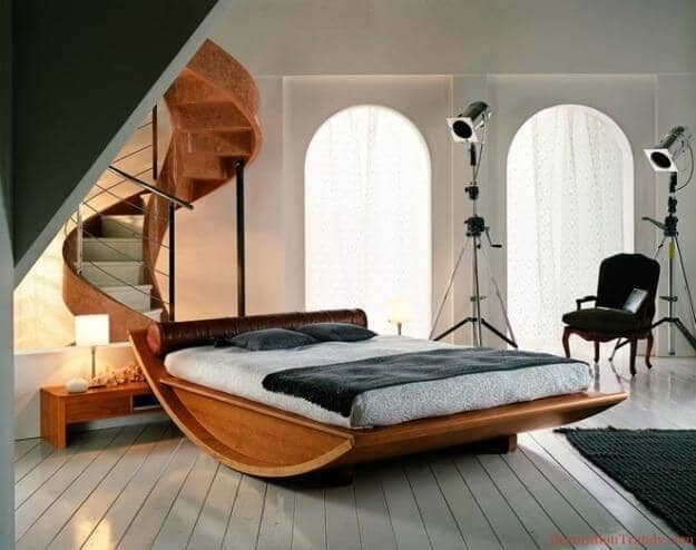 Awesome Natural Wooden Rocking Bed